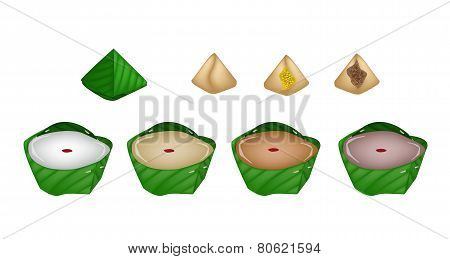 Illustration of Assorted Stuffed Dough Pyramid Dessert and Chinese Pudding or Chinese Sweetmeat for Pay Respect to God in Chinese New Year. poster