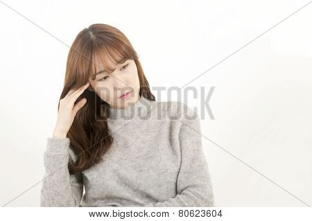 Stressed asian female student