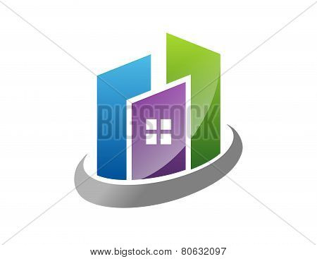 real estate logo building house pro solution icon