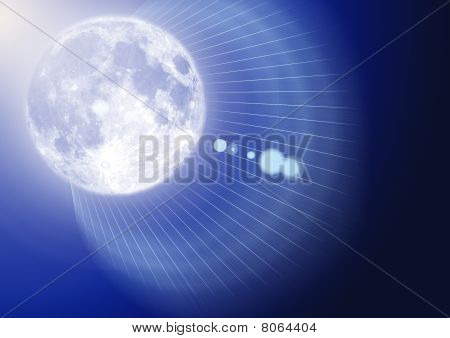 Space abstraction on blue background