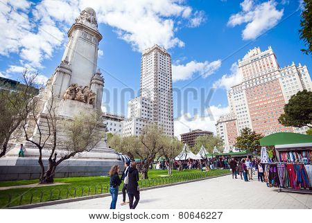 Spain Square With Monument To Cervantes, Torre De Madrid And Edificio Espana In Madrid