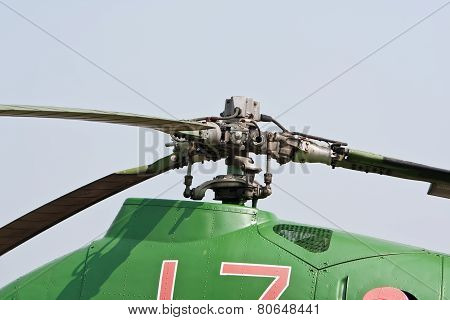 Rotor details and part of the body of military helicopter poster
