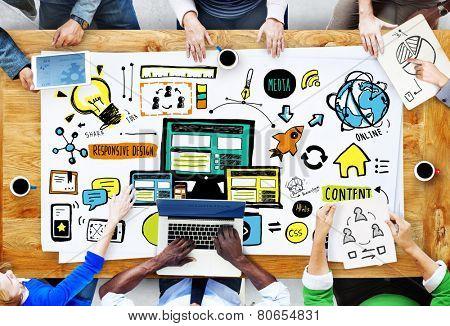 Diversity People Responsive Design Media Teamwork Brainstorming Concept