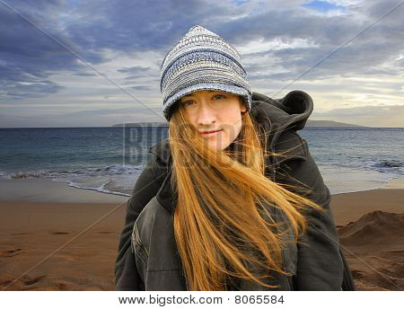 Young Girl on Beach