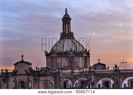 Metropolitan Cathedral Dome Zocalo Mexico City Sunrise