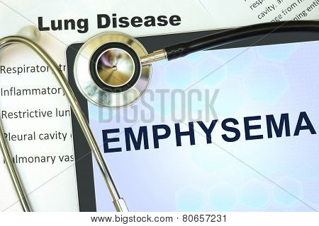 Tablet with word Emphysema and stethoscope.