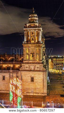 Metropolitan Cathedral Zocalo Mexico City Christmas Night