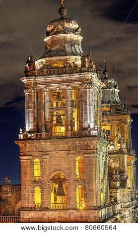 Metropolitan Cathedral Steeples Bells Statues Zocalo Mexico City At Night