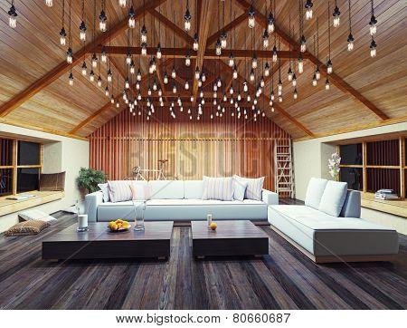 beautiful modern interior loft in the evening. 3d concept design.
