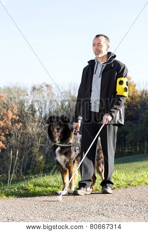 Man With His Guide Dog