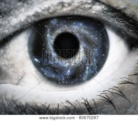 Human eye looking in Universe
