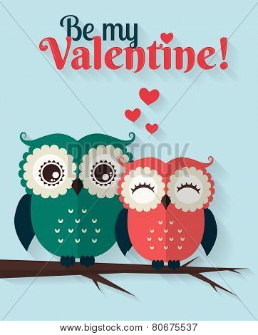 Be My Valentine! Vector Greeting Card With Flat Owls.