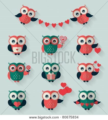 Flat Owls. Love, Romantic And Valentine's Day Theme. Vector Set.