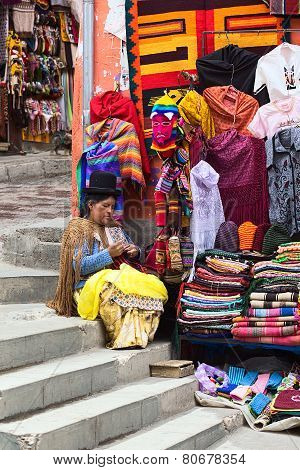 Woman at Souvenir and Handicraft Stand in La Paz, Bolivia