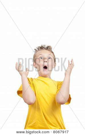 Crazy Grimacing Child, Isolated On White Background