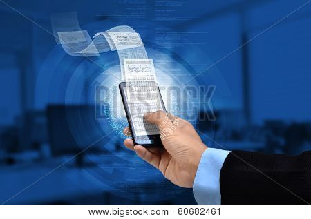 Businessman reading business or financial report on smart phone concept via internet connection poster