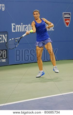 Professional tennis player Sara Errani from Italy during round 4 match at US Open 2014