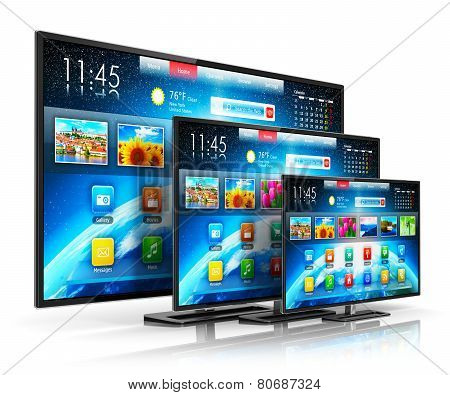 Set of different size smart TV display screens with color web interface isolated on white background with reflection effect poster