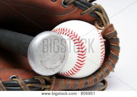 Baseballs, Glove and Bat