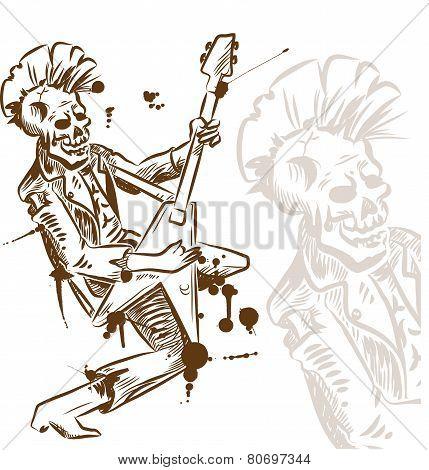 Punk Rock Guitarist Hand Draw