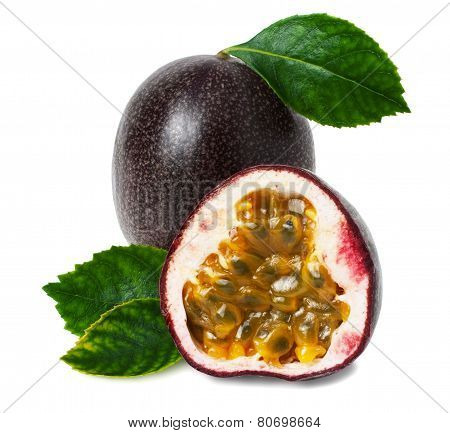 Passion Fruit On A White Background For Your Design