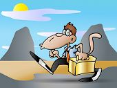monkey Businessman carrying a golden suitcase against nature background poster