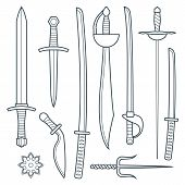 vector dark gray outline cold medieval weapons set with sword falchion glaive steel dagger dirk whiner saber saber sword katana bokken trident sai shrunken star poster