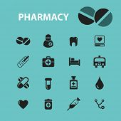 pharmacy icons, signs, illustration isolated on background set, vector poster