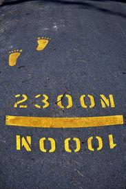 yellow foot print
