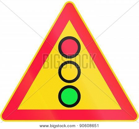 Road sign 165 in Finland - Light signals poster