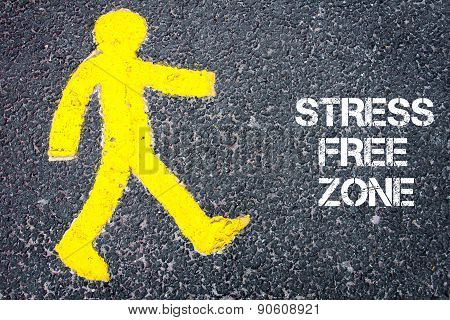 Pedestrian Figure Walking Towards Stress Free Zone