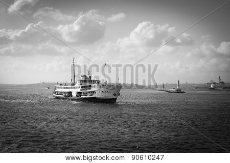 Istanbul, Turkey - September 14, 2014: Istanbul ferry passing from European to Asian side of Istanbul