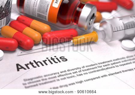 Diagnosis - Arthritis. Medical Concept. 3D Render.