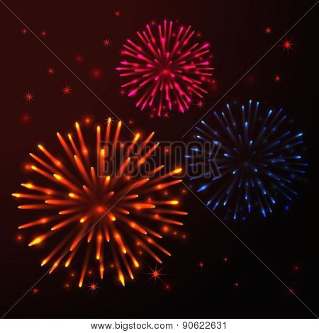 Vector Bright Fireworks
