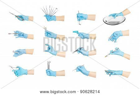 Collection Hands With Dental Tools Isolated On White