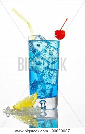 Blue cocktail with cherry