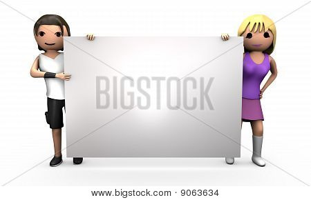 Young 3D Couple Holding Large Blank Sign