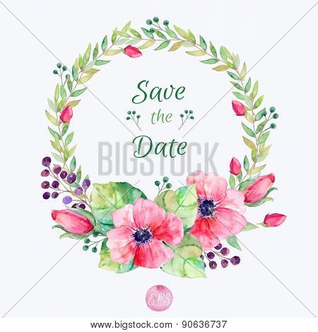 Vector flowers set. Colorful floral collection with leaves and flowers, drawing watercolor.