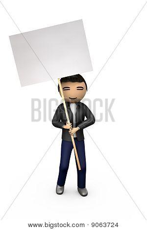 Oriental Asian 3D Guy Holding Blank Placard