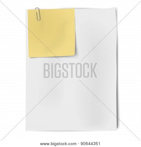 Clipped Sheets Of Sticky Note And A4 White Paper