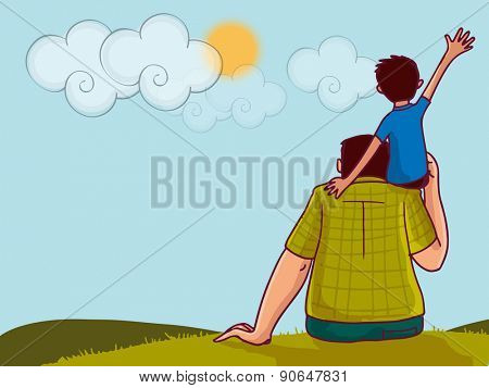 Illustration of a little boy sitting on his daddy's shoulder on nature background for Happy Father's Day celebration.