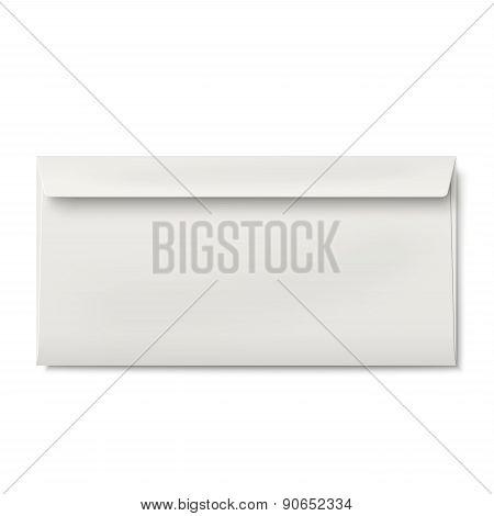 Slightly, Ajar Opened Dl Envelope Isolated On White Background