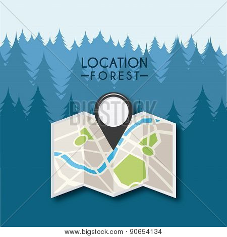 gps location design in dark forest, vector illustration eps10 graphic poster
