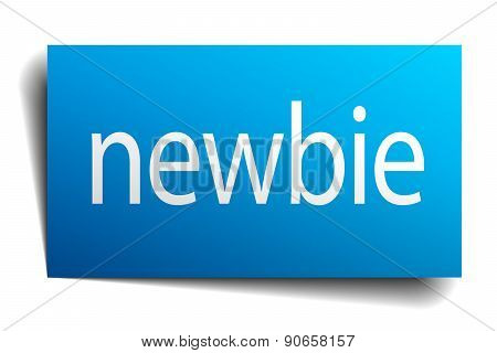 Newbie Blue Paper Sign On White Background