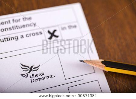 Liberal Democrats On A Ballot Paper