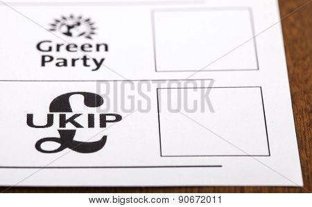 Ukip On A Ballot Paper