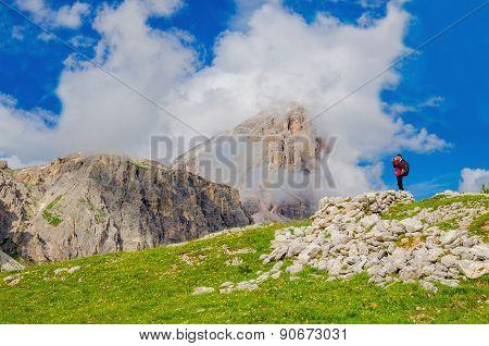 Mountain landscapeand blue sky, Dolomites, Italy