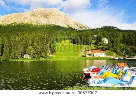 Lake Misurina in South Tyrol, Italy