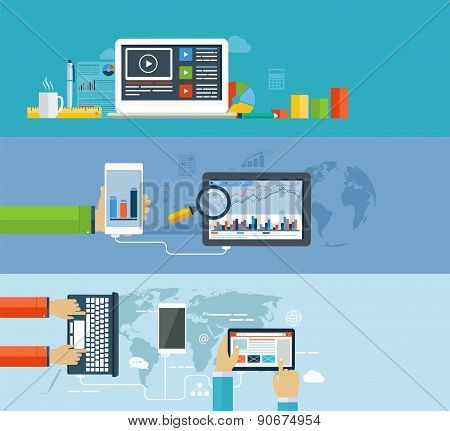 Business Infographics By Using Modern Of Digital Devices For Internet Browsing, Data Transfer On Mob