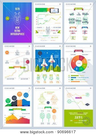 Vector illustrations of modern info-graphics. Big set of info graphics elements in modern flat business style.  Use in presentation, advertising, marketing, website, flayer, corporate report etc. poster